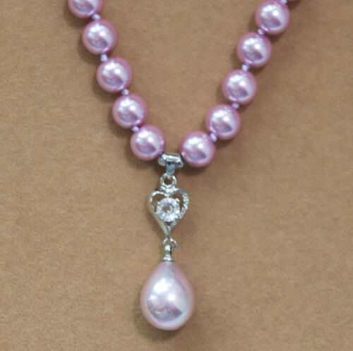 """Long 14-24/"""" 8 mm Akoya Shell Pearl PERLES rondes Drop Pendentif 12x16mm Collier AAA"""
