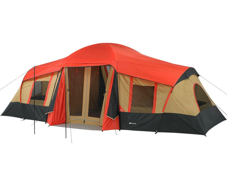 Tienda Casa de campaña Camping Grande 10 Personas 3 Cuartos instantanea Orange