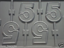 NUMBER 5 No 5 CHOCOLATE LOLLIPOP LOLLY MOULD MOLD 4 ON 1