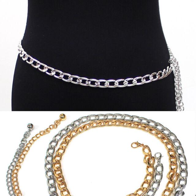 Women Gold Silver Full Metallic Bling Wide Link Waist Hip Metal Chain Belt Belts