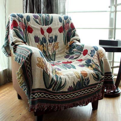 180cmx 220cm Chenille Jacquard Tassels Throw Blanket Sofa