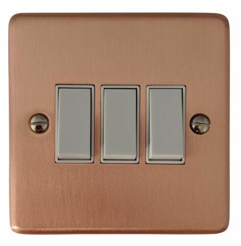 G/&h norme CRG3W PLAQUE OR ROSE 3 Gang 1 ou 2 Façon Rocker Interrupteur De Lumière