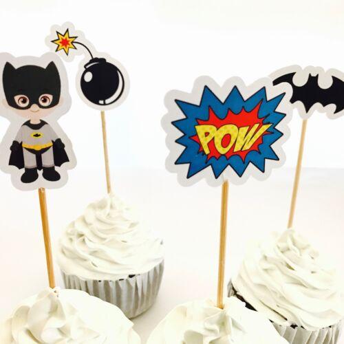 12x Batman Cupcake Topper Pick Fruit *HANDMADE* Superhero Lolly Loot Bag