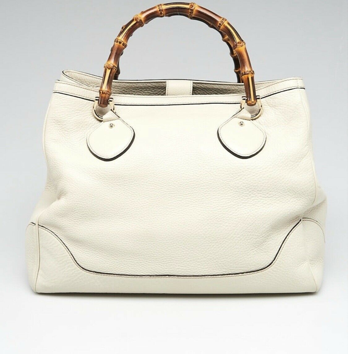 Gucci Cream Pebbled Leather Bamboo Handle Princes… - image 1
