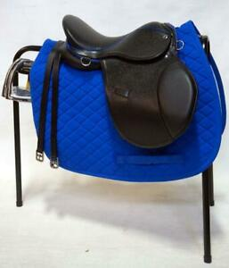15-034-BLACK-English-Saddle-BLUE-accents-Pad-Stirrups-Breakaway-Irons-Stand-GIFT-Id