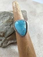 Navajo Turquoise-sterling Silver Ring By Scott Skeets-size 8.5-beautiful