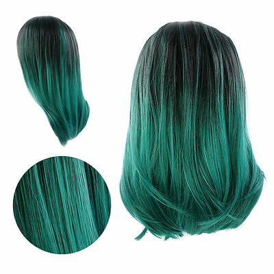 "Lady 14"" Short Straight Lace Front Wig Sythetic Hair Ombre Black And Dark Green"