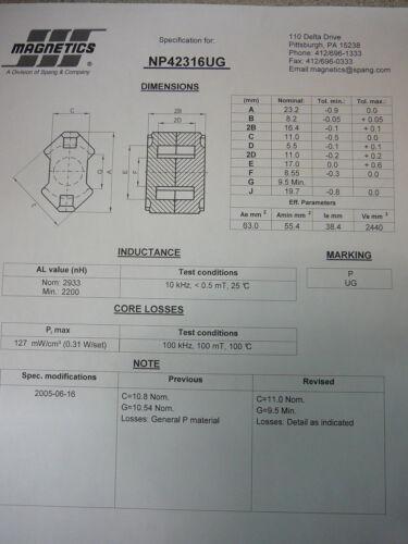MAGNETICS NP42316UG RM 8 Ferrite Core Grade P  **NEW** 2//PKG