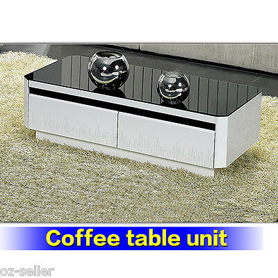 Coffee Table High Gloss With Drawer Home Office Furniture Stylish Modern New