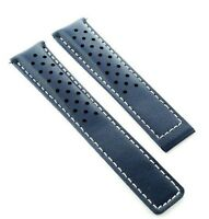 Leather Band Strap Smooth Deploy Clasp 20mm For Tag Carrera Blue 4t Perforat