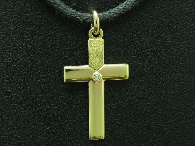 8kt 333 yellowgold Kreuz Anhänger mit Brillant Besatz   27,9mm