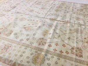 12 X 164 Muted Ivory Light Blue Large Oushak Oriental Rug Handwoven