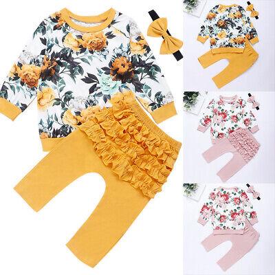 ❤️ Infant Newborn Baby Girls Floral Outfits Hoodies Tops Pants Headband 2PCS Set