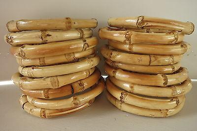 Bamboo Bangle Tiki Hawaii 50s Rockabilly Bracelets Natural Wood Polynesian