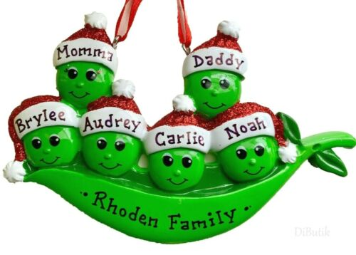 NAME PERSONALIZED 2020 Green Sweet Peas Family of 6 Christmas Tree Ornament GIFT