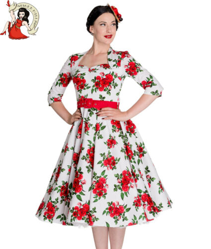 Hell Bunny 50'S Eternity Kleid Blumenmuster Vintage Weiß