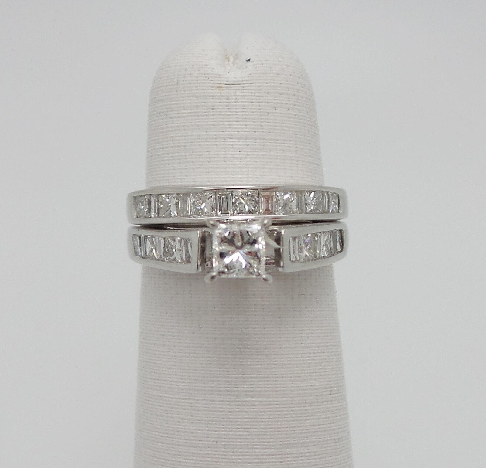 Zales 1.25CT Princess Cut Diamond Engagement Wedding Ring Bridal Set 14K gold