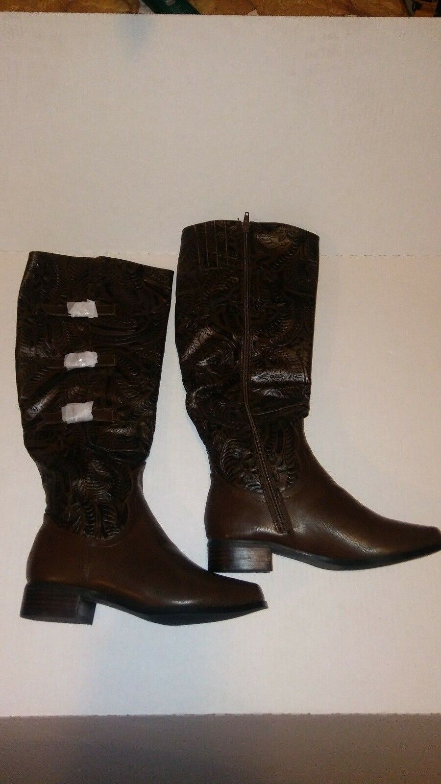 Andiamo Burnished Tooled Knee Boots Color Coffee Dr Brown Size 6.5 W