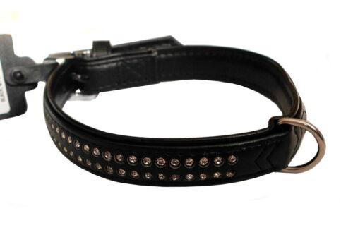 Karlie perros collar de Monte Carlo M L negro doblebolsillo pedrería Collar de cuero
