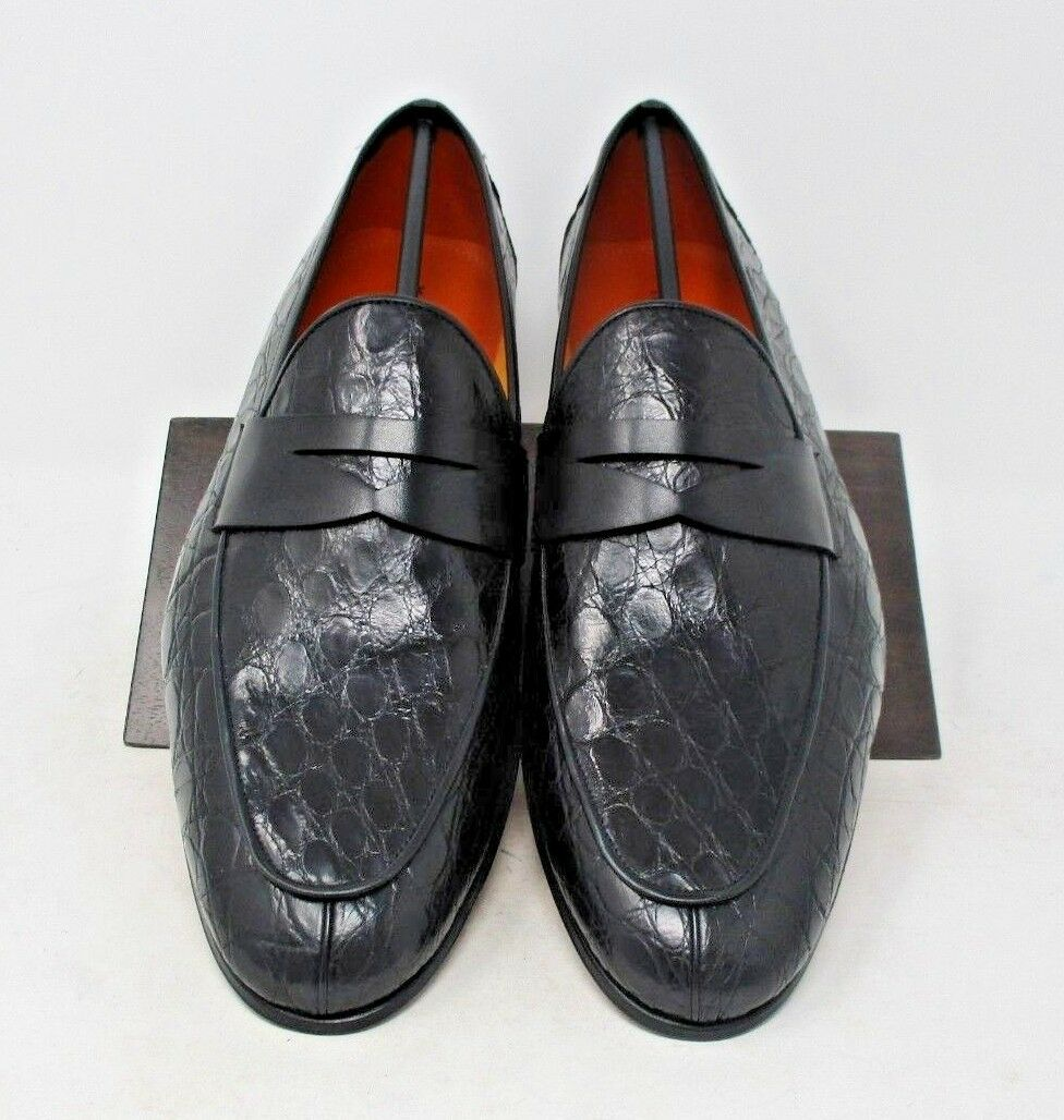 Magnanni Calos nero Crocodile Loafers Dimensione 13 US (15965-1) 1230