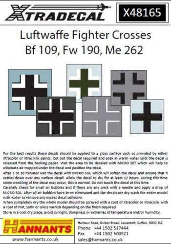 FW-190 /& Me-262 Xtradecal X48165 1:48 Luftwaffe Fighter traverse pour Bf-109
