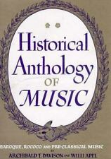 Historical Anthology of Music, Volume II: Baroque, Rococo, and Pre-Classical Mu