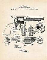 1873 Colt 45 Peacemaker Poster Patent Print Mason Revolver Gun Enthusiast Gifts