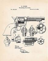 1873 Colt 45 Peacemaker Poster Patent Print Mason Revolver Gun Enthusiast Gifts