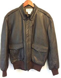 Vintage Men's Clothing Vtg Leather Ll Bean A-2 Flying Tiger Goatskin Flying Flight Pilot Jacket Coat Lg
