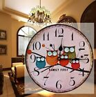 Vintage Wooden Wall Clocks Shabby Chic Retro Owl Clock Room Home Decor ^