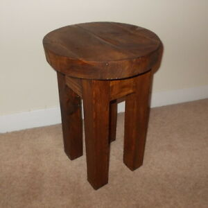 New-Hand-Made-Rustic-Solid-Wooden-Stool-Bar-Stool