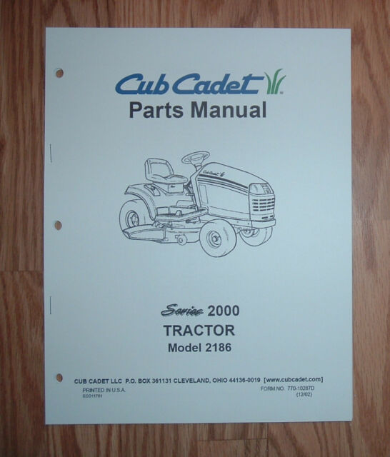 cub cadet 2186 tractor & engine illustrated parts list manual