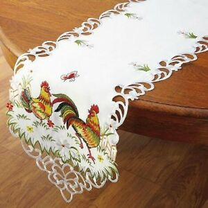Image Is Loading Deluxe ROOSTER Table Runner Doily 54 X 13