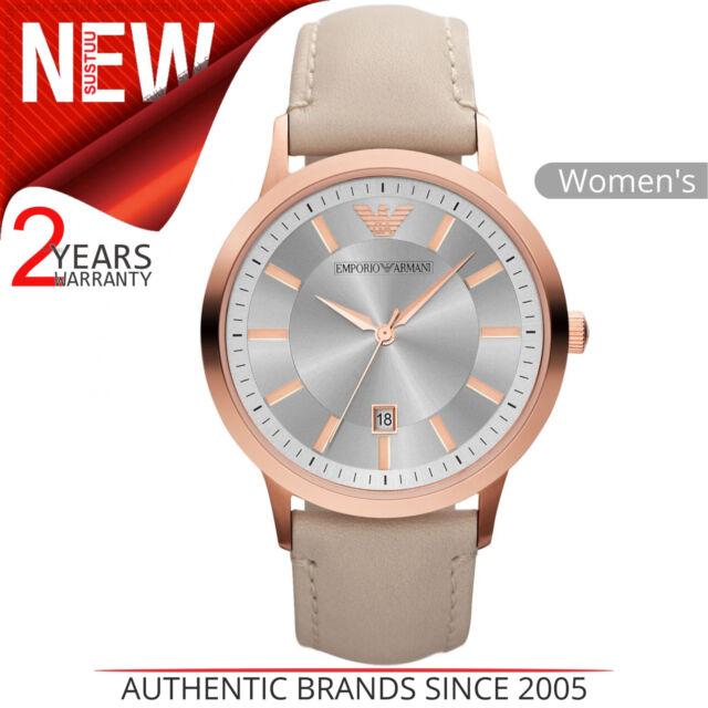3fe9aba30f Emporio Armani Reloj Mujer Ar2466 │ Color Plata Esfera Redonda │ Crema
