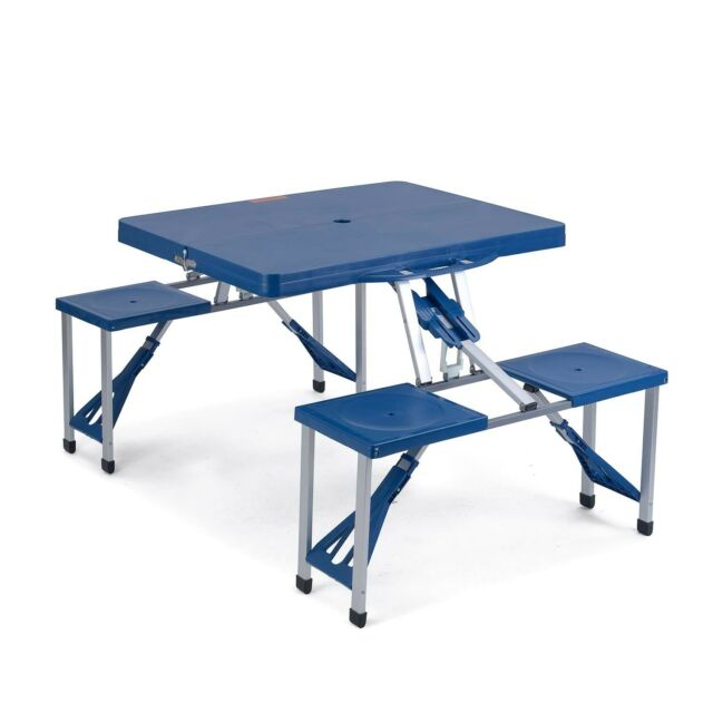 Portable Folding Picnic Table Chairs Set Plastic Outdoor Camping Bbq Garden