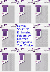 """Crafter/'s Companion Gemini 3D Embossing Folders 5/""""x7/"""" Choose Your Design New"""
