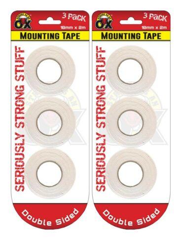 6 Rollos de espuma de doble cara cinta de montaje de Calidad de marca extra fuerte Hágalo usted mismo Craft