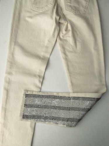 Bnwt impreziositi Glamrock Cream Jeans 8 W26 Rhinestud Moto Topshop Taglia IE9W2DHY