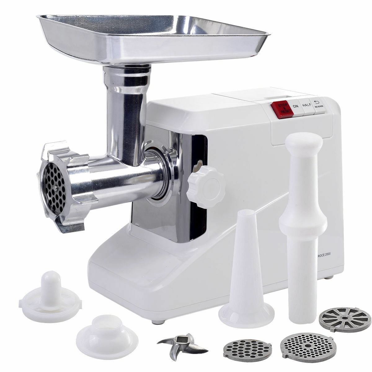 Electric Industrial Sausage Meat Grinder 2.6HP 2000W Butcher Kitchen Plate Blade