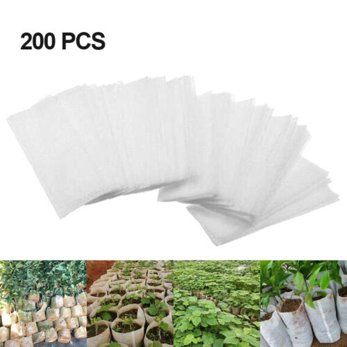 200 Pcs Seedling Pots Fiber Raising Non-woven Nursery Bags Fabric Plant Grow