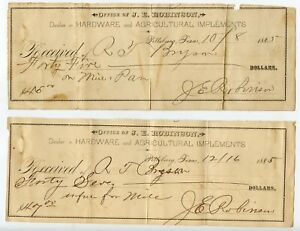 1885-Receipts-Camp-County-Pittsburg-Texas-TX-J-E-Robinson-Farm-Implements