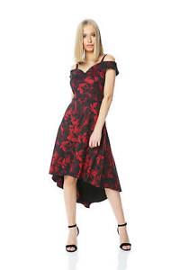 Roman-Originals-ajustado-y-acampanado-vestido-floral-para-mujer