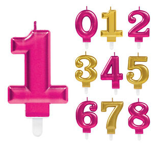 Image Is Loading Birthday Candles Numbers Pink Amp Gold Happy Party