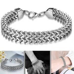 Fashion-Bracelet-Bangle-925-Sterling-Silver-S-F-Men-Solid-Cuff-Curb-Cuban-Link