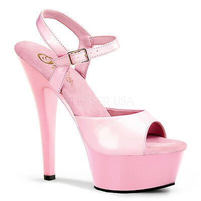 "SALE PLEASER Sexy Baby Pink Platform 6"" Heels Ankle Strap Stiletto Shoes 11"