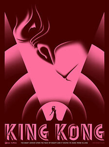 KING-KONG-ART-DECO-MOVIE-POSTER-STYLE-A-SMALL-PINK-LIMITED-EDITION-SCREEN-PRINT