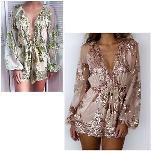 Sequin-Dresses-Summer-Fashion-Flower-Skirt-Mesh-Waist-Rope-Jumpsuit-For-Women