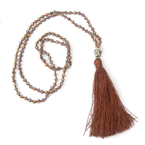 Women Ethnic Boho Crystal Beaded Buddha Tassel Pendant Necklace Fashion Jewelry