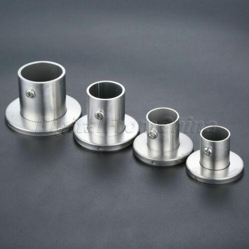 2Pc Stainless Steel Flange Bracket Closet Clothes Rail Socket Hanging Rod Socket