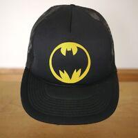 Vintage 80s 1986 Batman Logo Black Mesh Hipster Trucker Ball Cap Hat Gotham RARE
